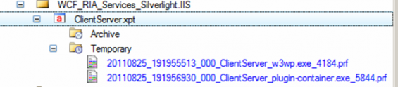 Trace Results - files for IIS server and Silverlight client